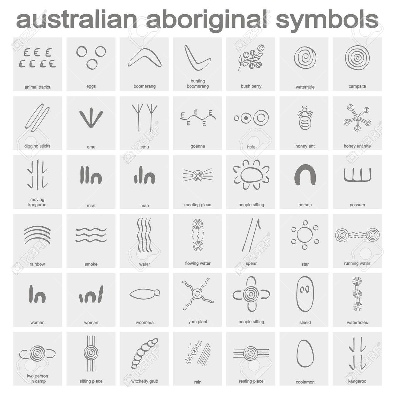 monochrome icon set with australian aboriginal symbols for your design - 115602378