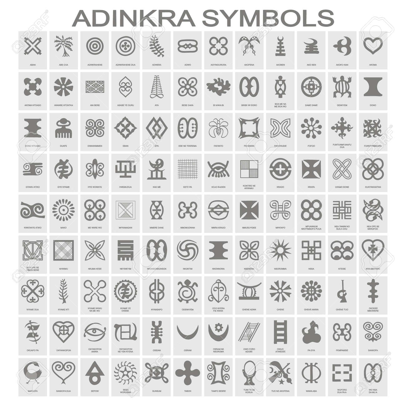 set of monochrome icons with adinkra symbols for your design - 123253503