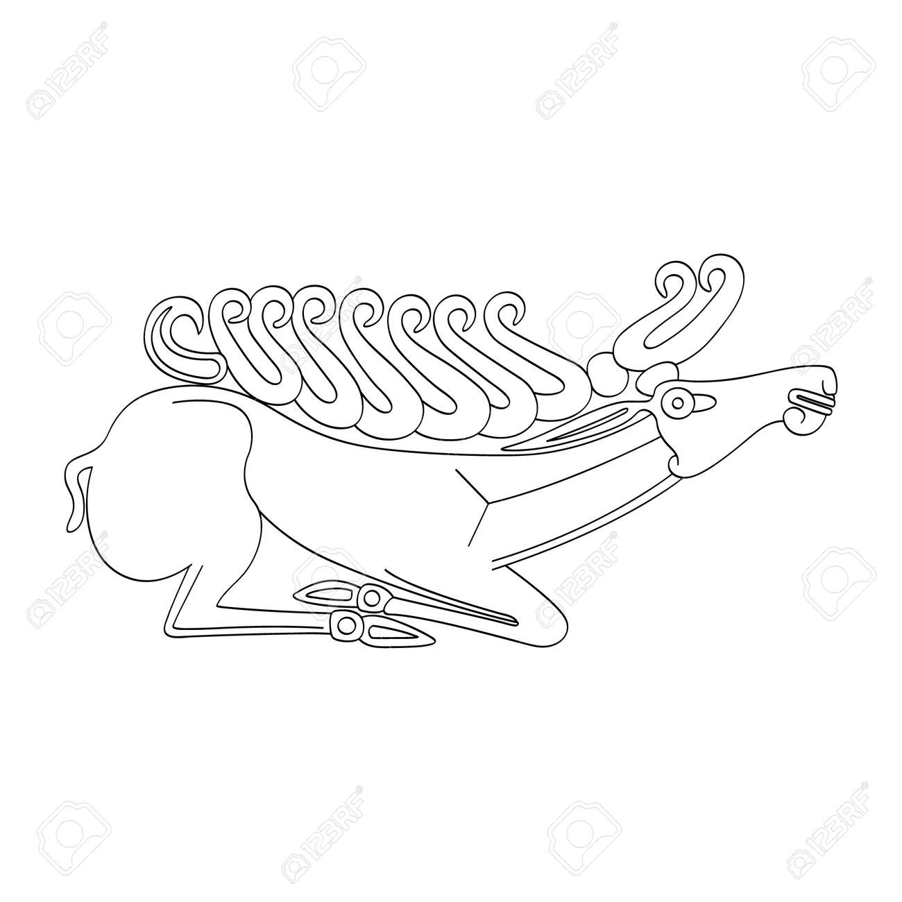 vector monochrome icon with ancient Scythian art. Plaque with animal motifs for your project - 164658281