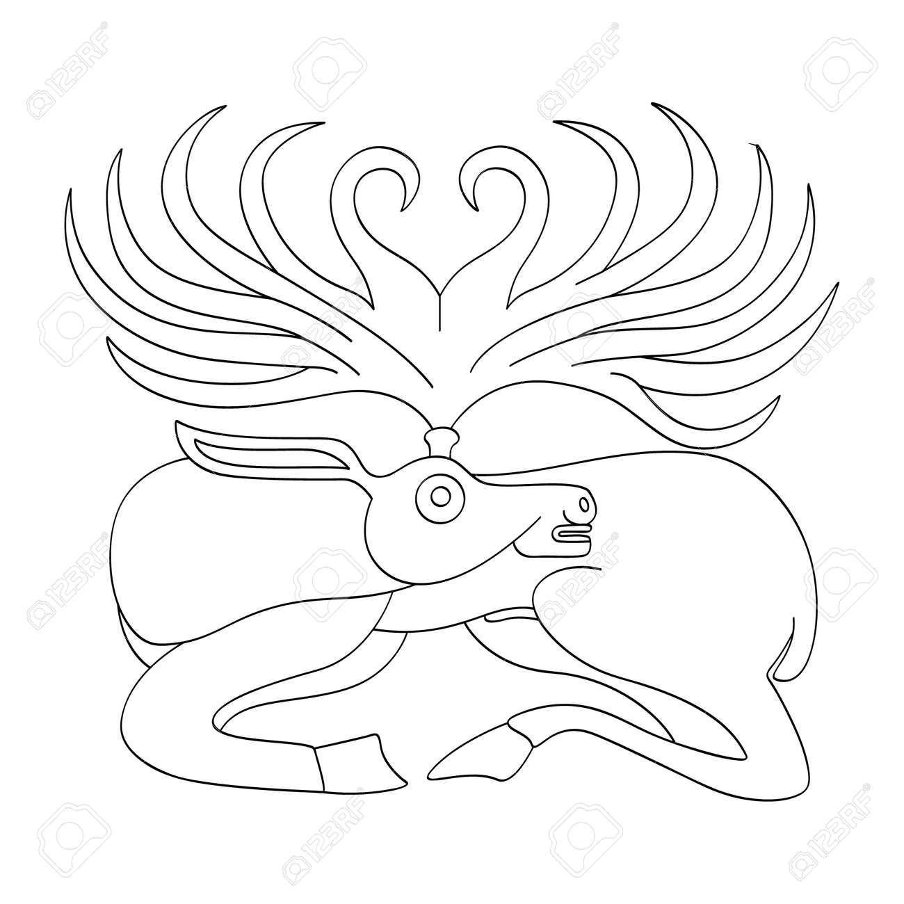 vector monochrome icon with ancient Scythian art. Plaque with animal motifs for your project - 164658283