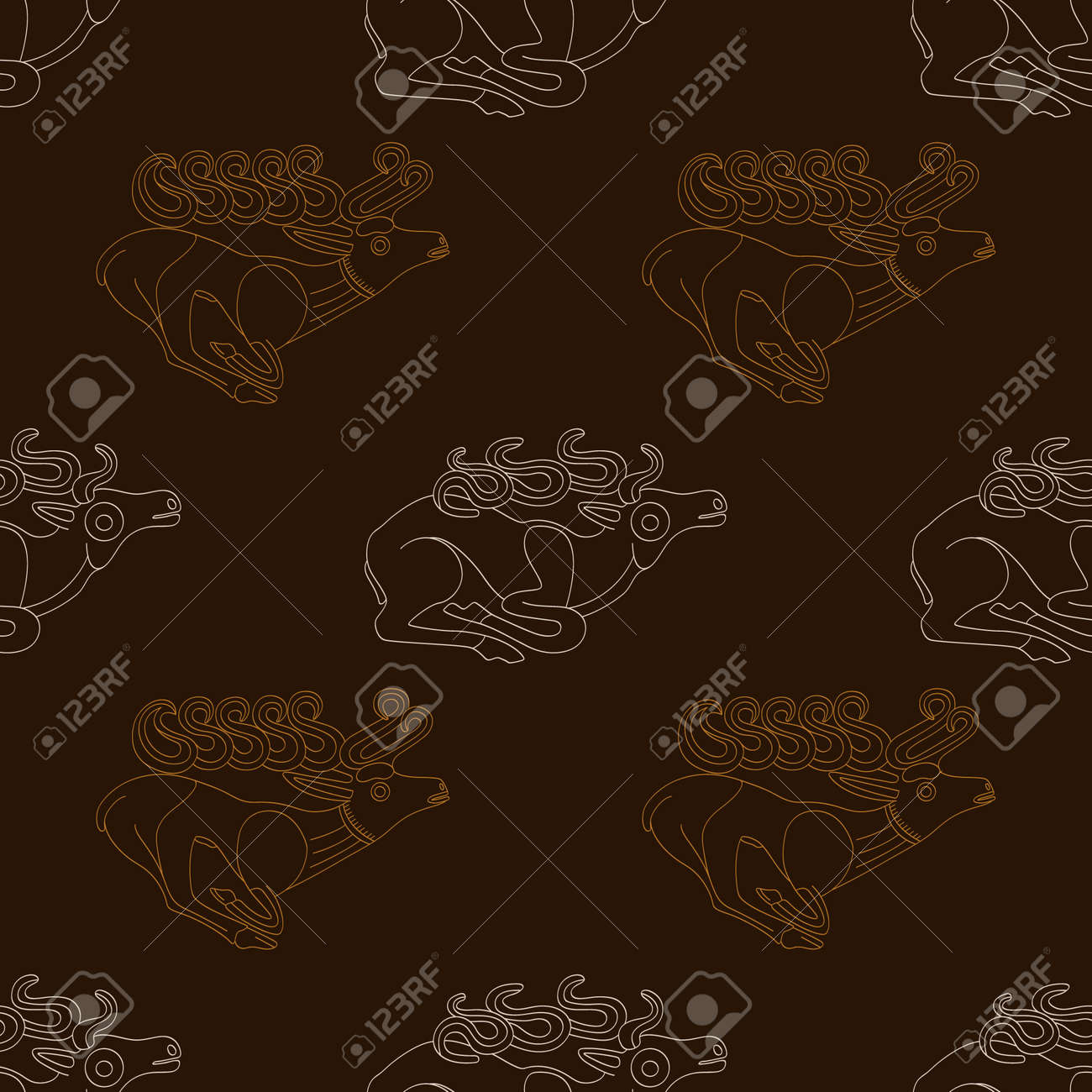 Seamless pattern with ancient Scythian art and animal motifs for your project - 166815015