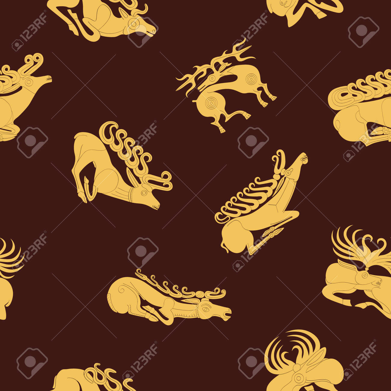 Seamless pattern with ancient Scythian art and animal motifs for your project - 166590944