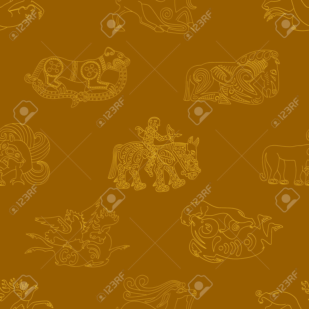 Seamless pattern with ancient Scythian art and animal motifs for your project - 166671017