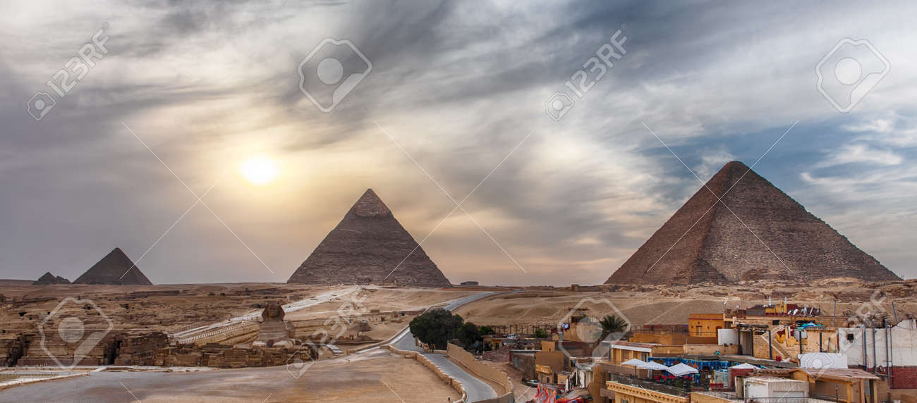 The Great Pyramids of Giza, panoramic view from the town. - 121936014