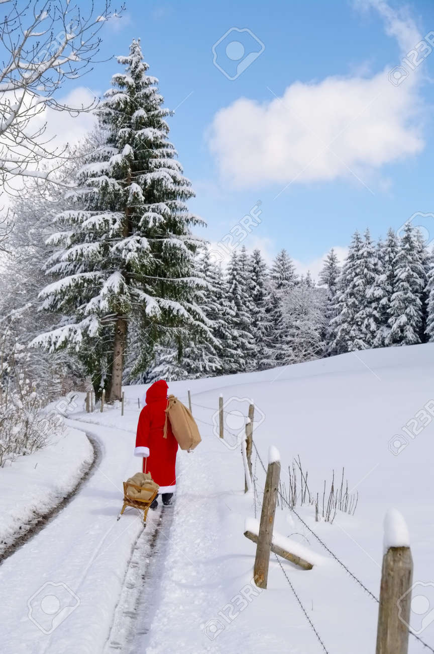 Santa Claus, Father Christmas in a beautiful winter landscape Stock Photo - 15600110