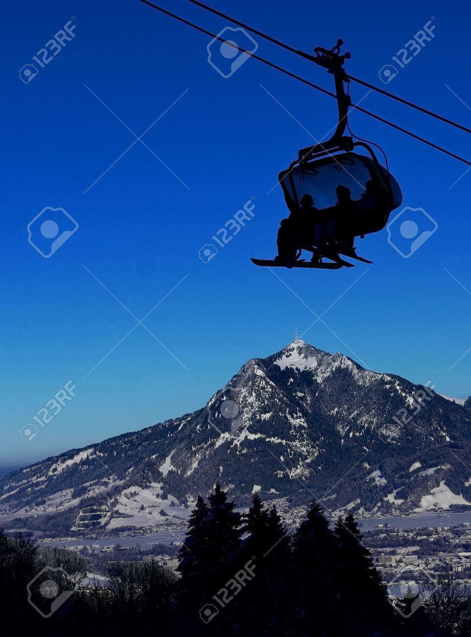 cable car lift at ofterschwang ski resort in the background the
