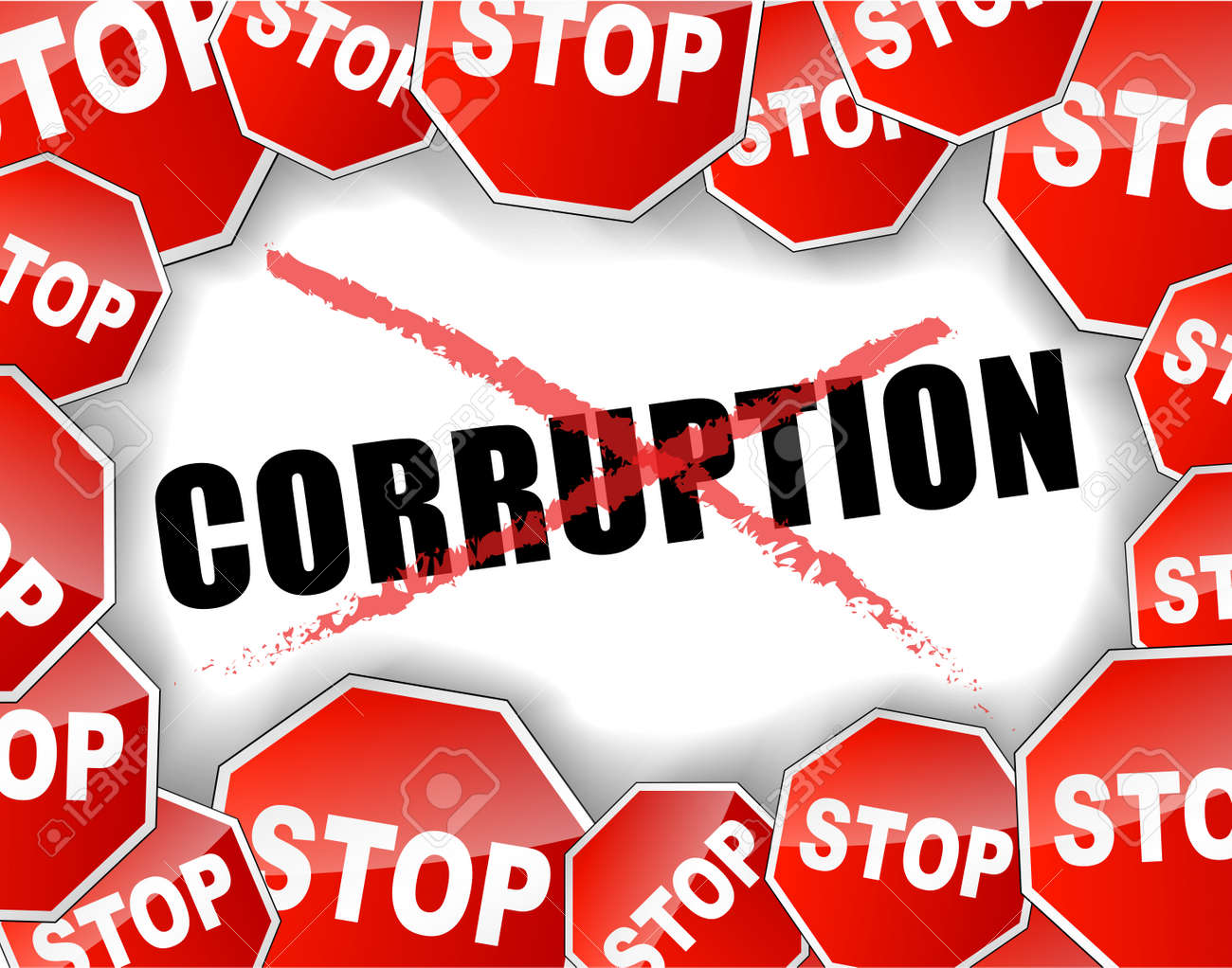 vector illustration of stop corruption concept background royalty