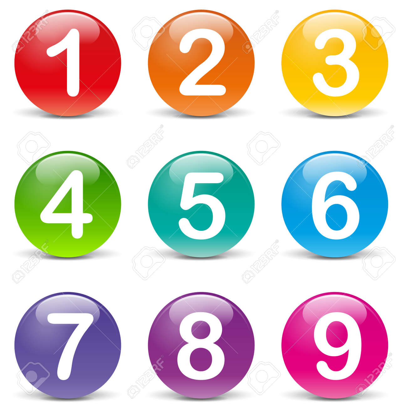 Vector illustration of colored numbers icons on white background - 27835194