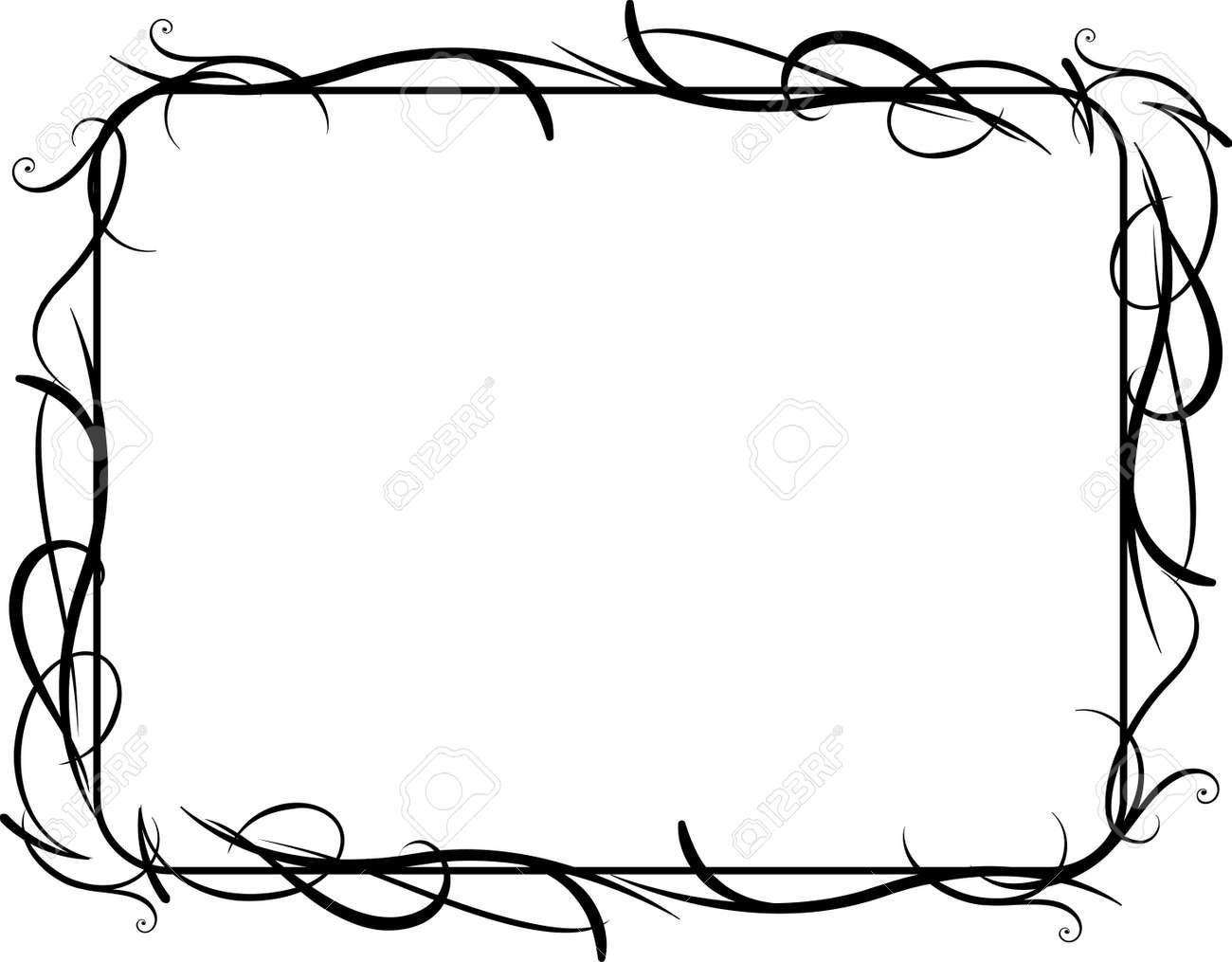 Vector Illustration Of Horizontal Vines Frame Concept Royalty Free ...