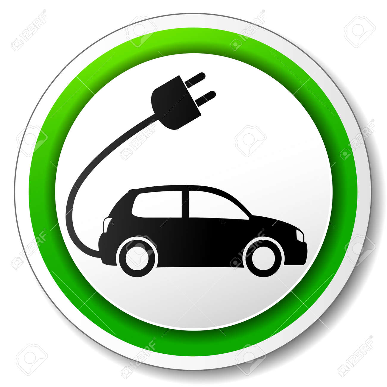 Vector Illustration Of Electric Car Icon On White Background