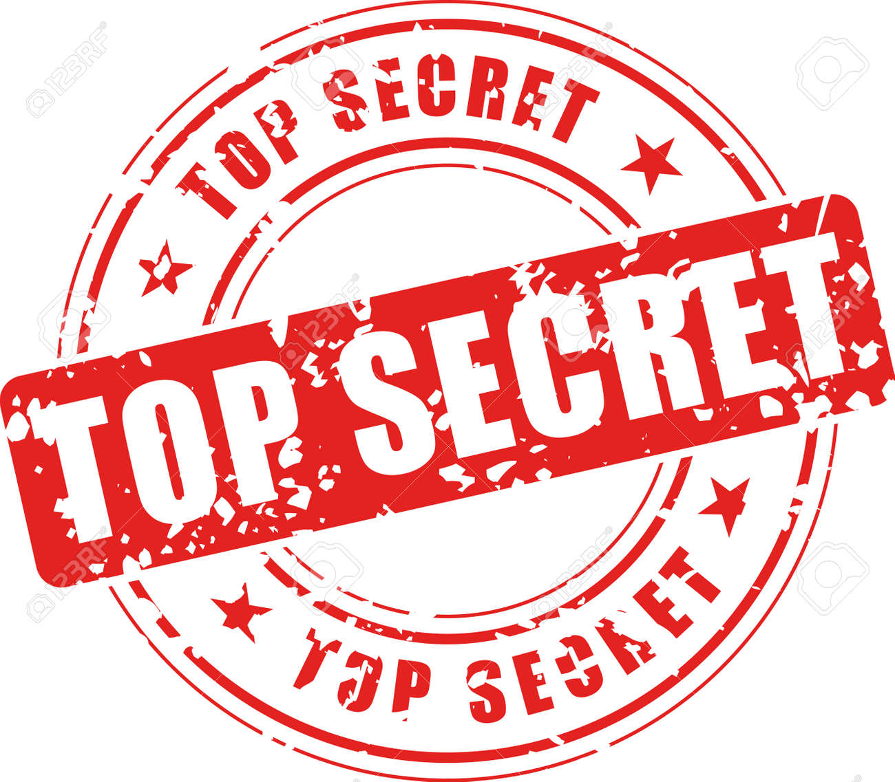 Vector Illustration Of Top Secret Stamp On White Background Royalty