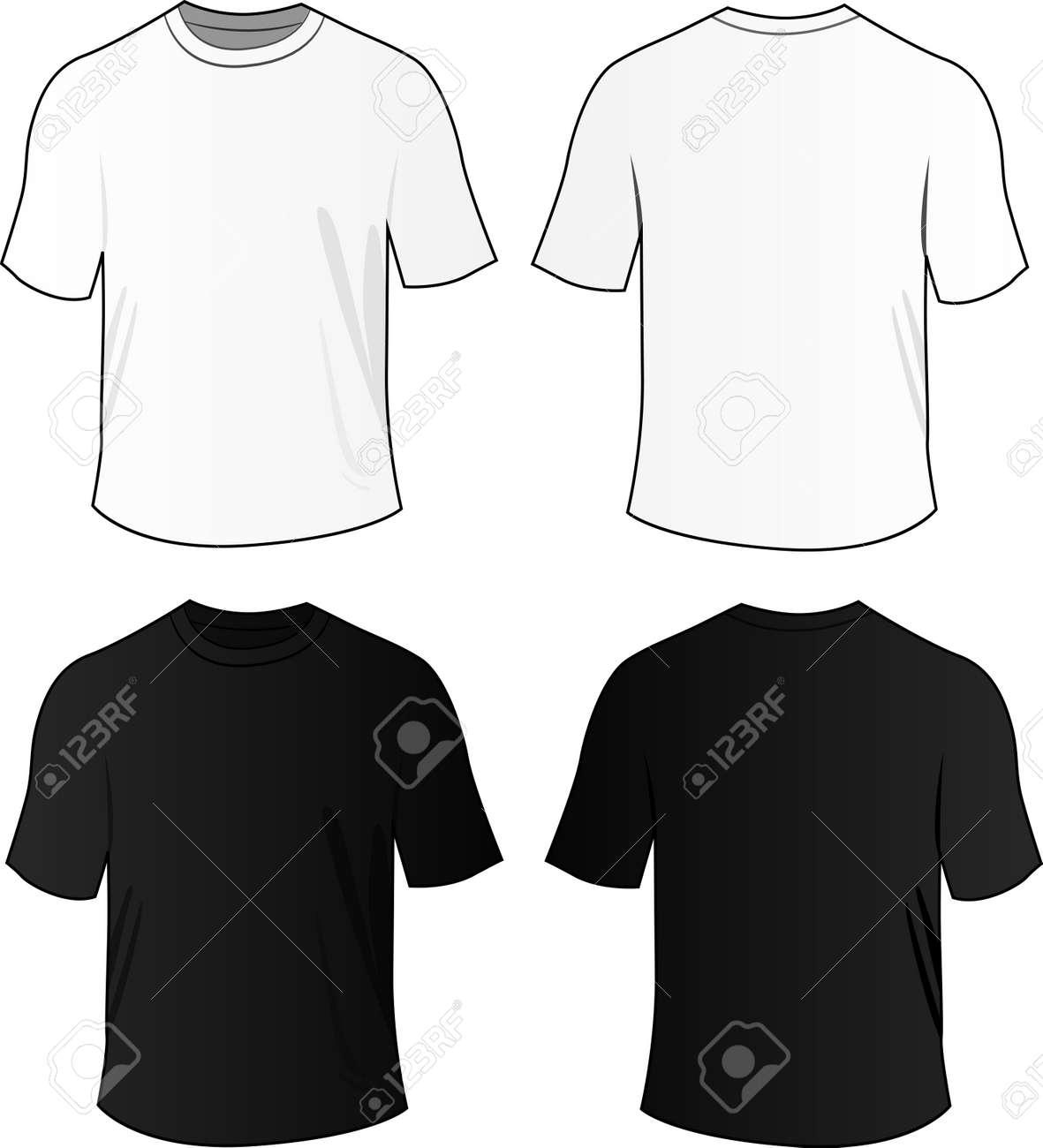 Black t shirt vector photoshop - Tshirt Vector Illustration Of Black And White Blank Tee Shirts