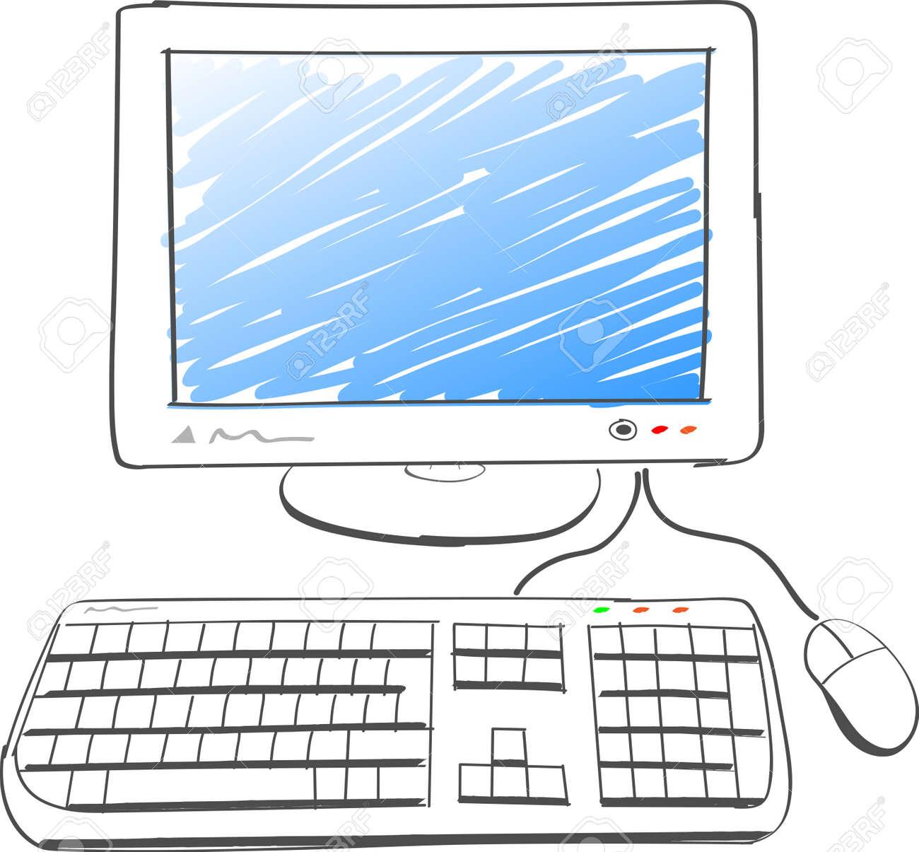 Illustration De Dessin A L Ordinateur Sur Fond Blanc Clip Art Libres