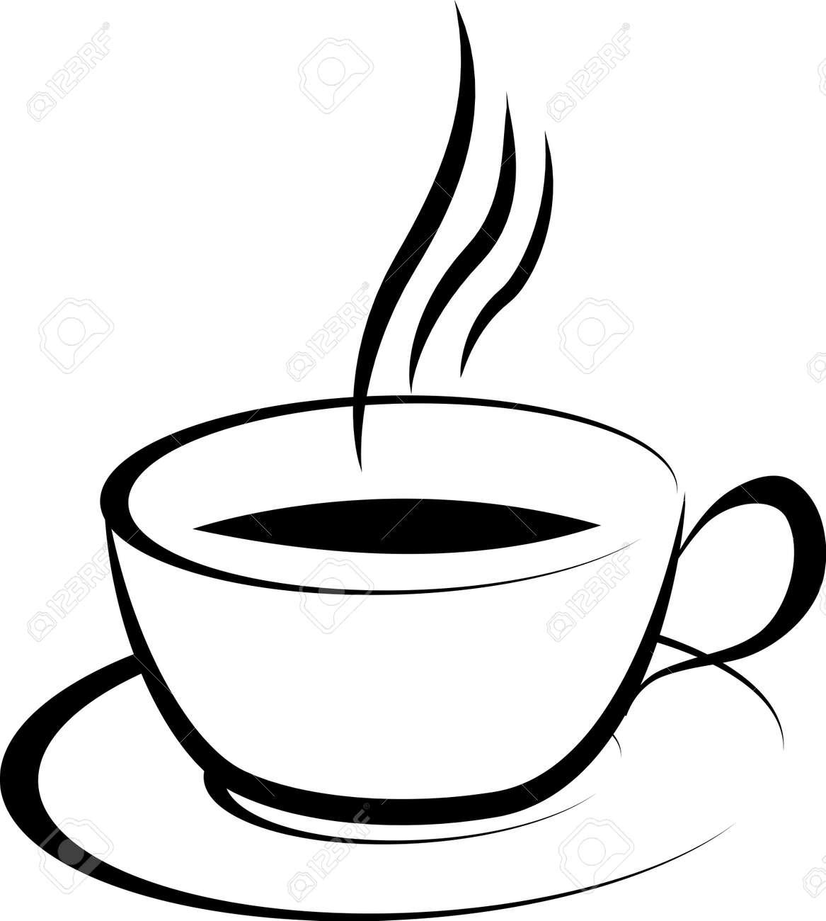 Vettoriale Illustrazione Del Bianco E Nero Disegno Tazza Di Caffè