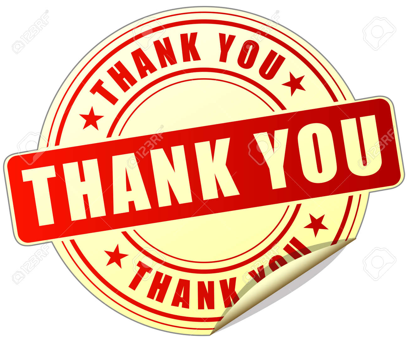 Illustration Of Thanks Label Design Red Icon Royalty Free Cliparts