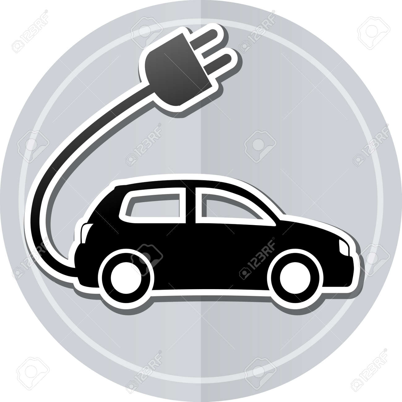 Car sticker design for white car - Illustration Of Electric Car Sticker Icon Simple Design Stock Vector 39757703