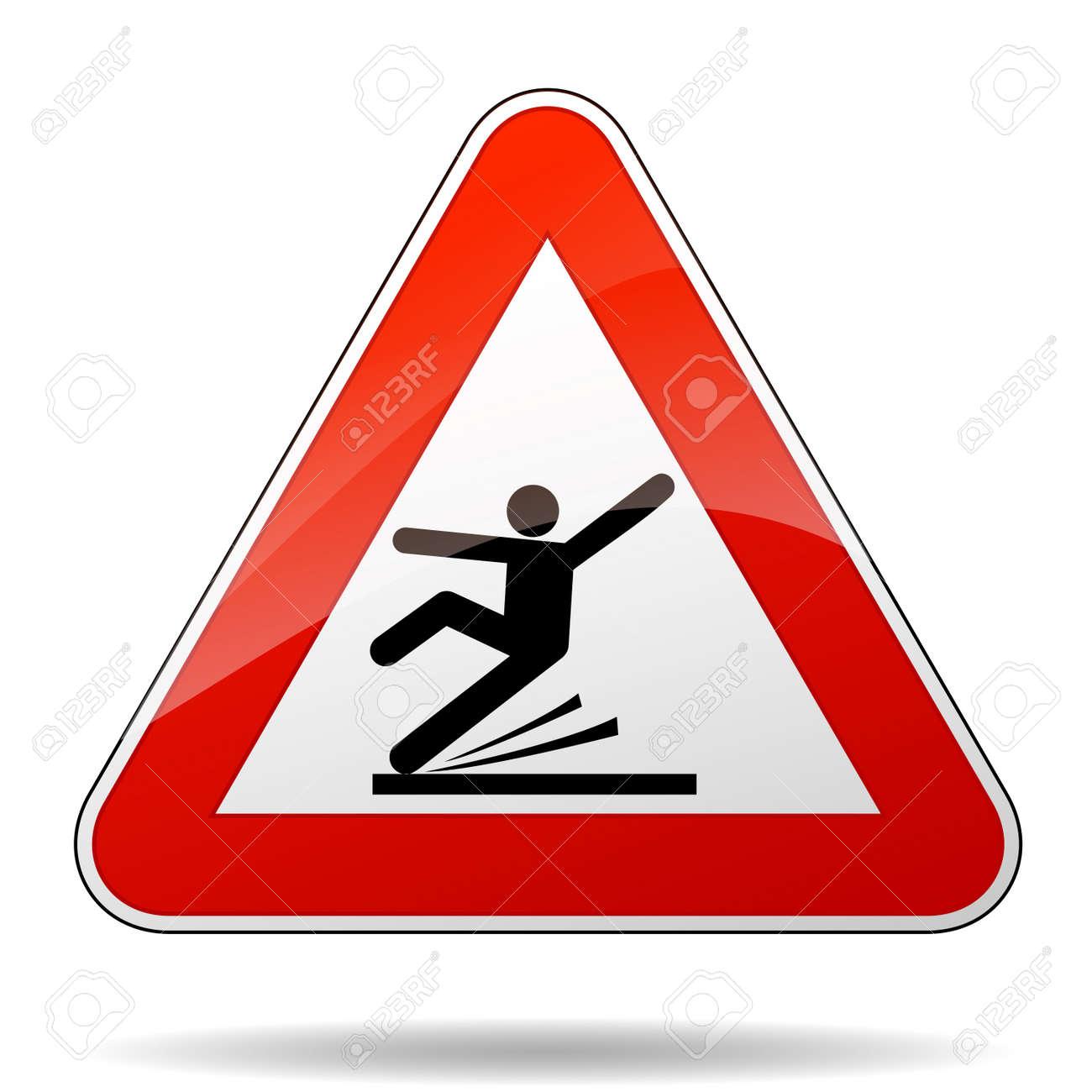 Illustration of warning sign for wet floor - 66547228