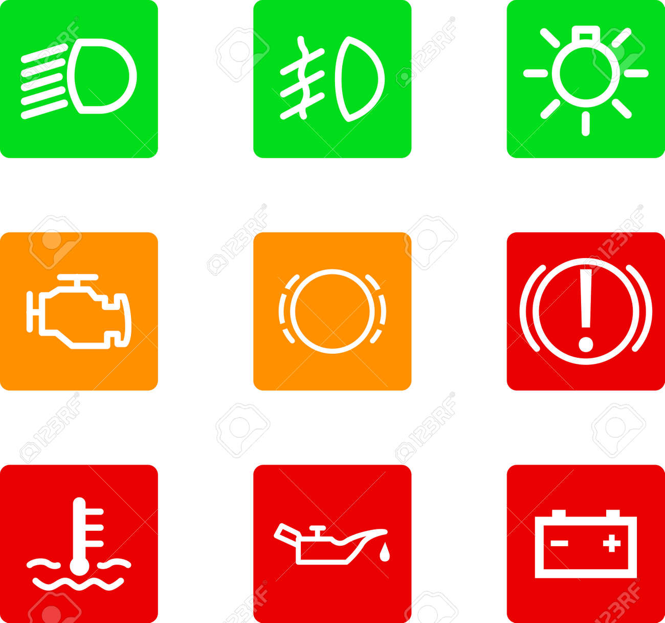 Illustration Of Nine Car Dashboard Icons Royalty Free Cliparts - Car image sign of dashboardcar dashboard icons stock images royaltyfree imagesvectors