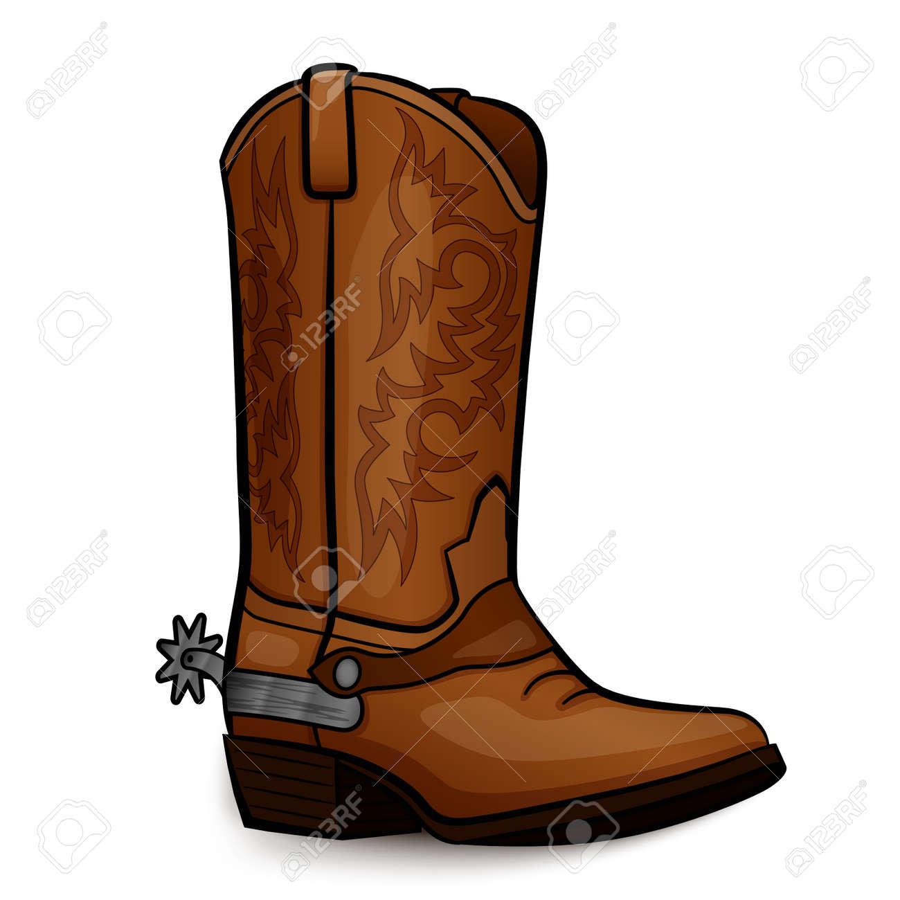 Vector illustration of cowboy boot brown design - 111870207