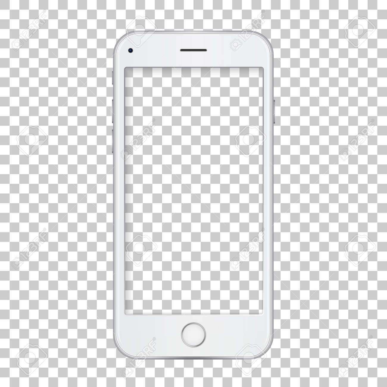 White Phone Template With Blank Screen. Royalty Free Cliparts ...