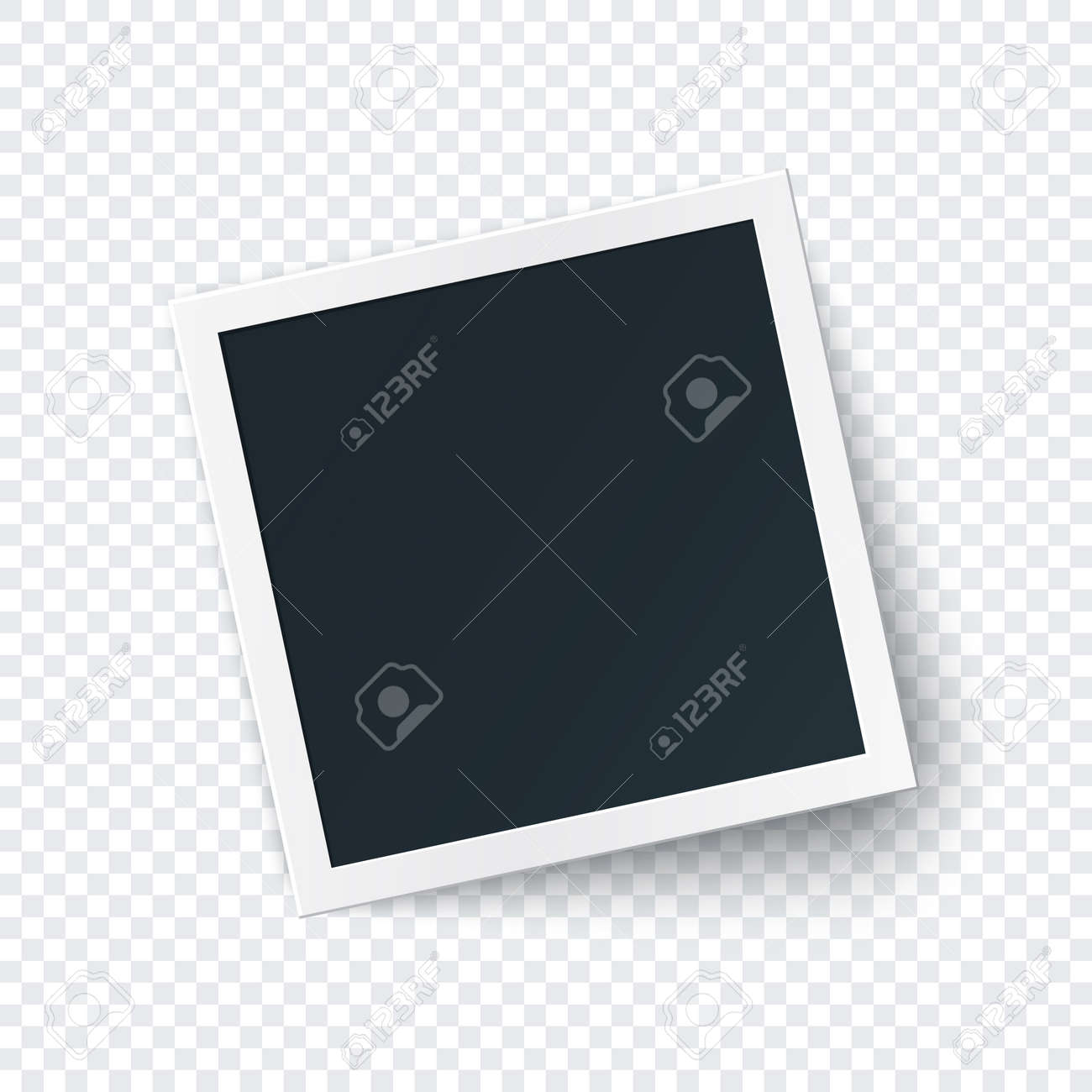 Retro photo frame image template, square photography isolated with big shadow in realistic style. - 141554872
