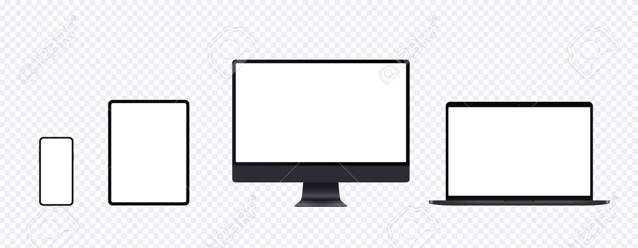 Realistic computer mockup set with desktop, laptop, tablet and smartphone. Black electronic device set in front view, pc screen, open notebook, pad and mobile phone display. - 150534083