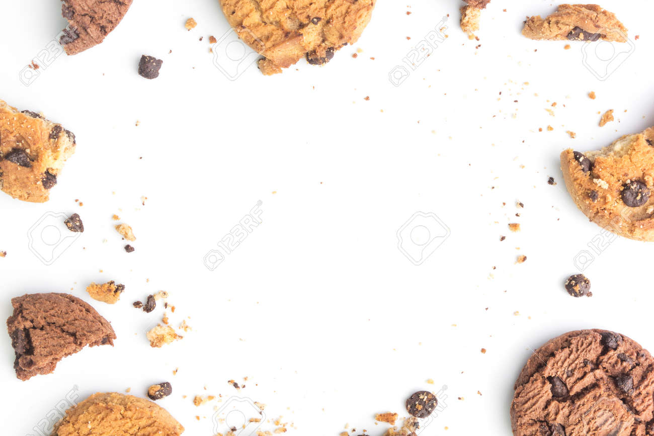 homemade chocolate chips cookies on white background in top view - 131437168