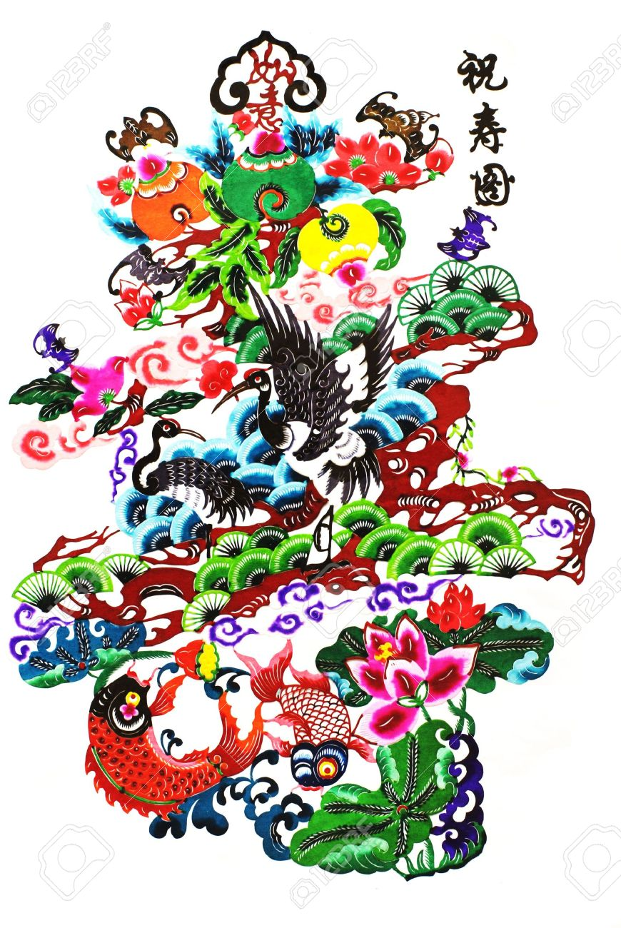 Color paper cuttinglongevity chartis is a color picture of chinese characters are the meaning of longevity color paper cuttinglongevity chartis is a color picture of the paper buycottarizona Images