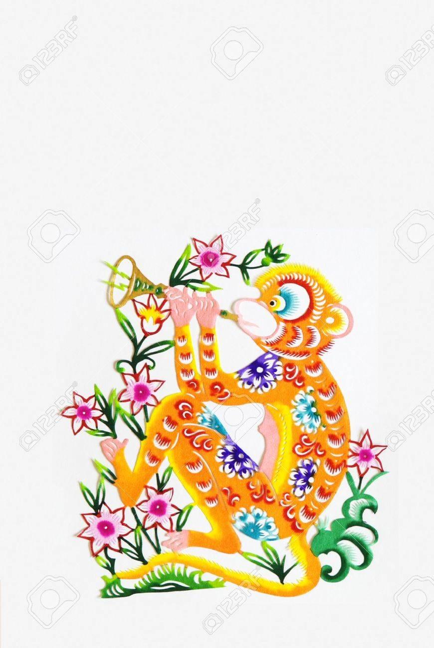 color paper cutting.Chinese zodiac animals.monkey. Stock Photo - 4744089