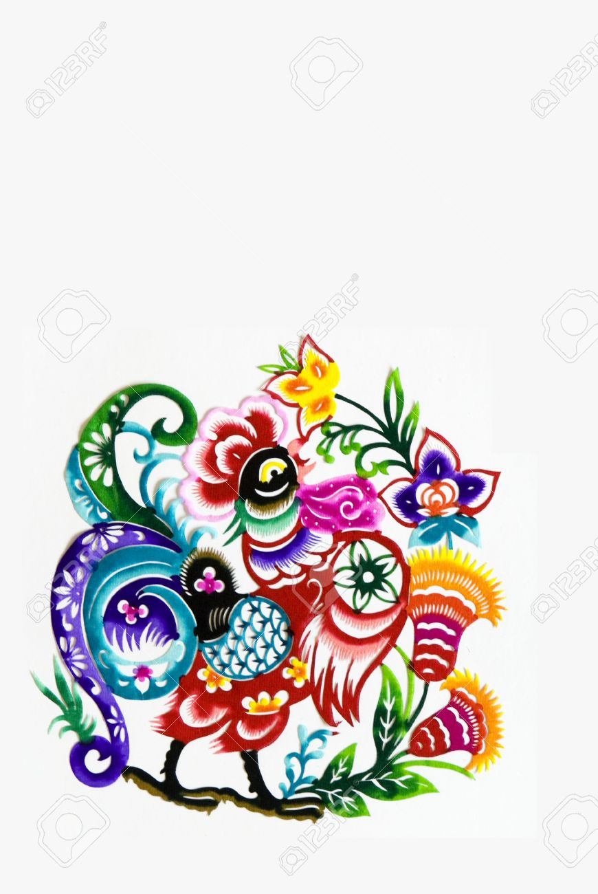color paper cutting.Chinese zodiac animals.rooster. Stock Photo - 4744088