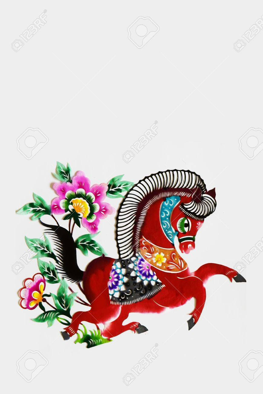 color paper cutting.Chinese zodiac animals.horse. Stock Photo - 4744080