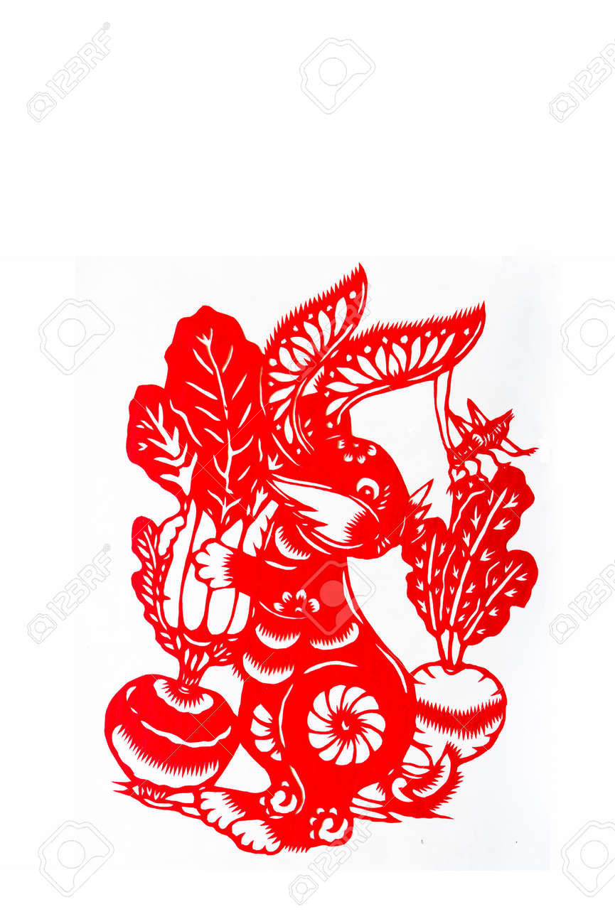hare,paper cutting Chinese Zodiac.These paper cutting show that Chinese Zodiac, such as rat, ox, tiger. Stock Photo - 5730180