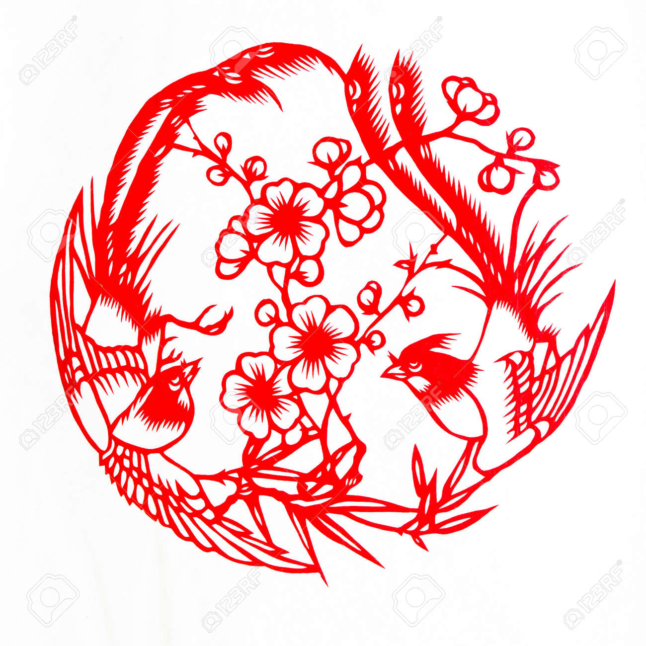 Fine spring day.This is a picture of Chinese paper cutting. paper-cut is one of the traditional Chinese arts and crafts. Stock Photo - 5798560