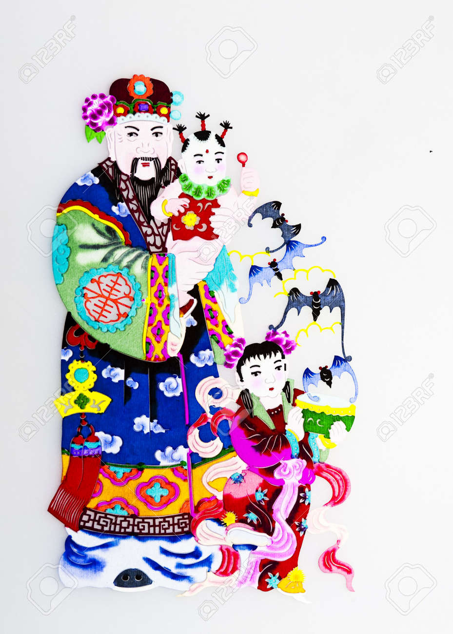 God of Happiness.This is the Chinese colored paper-cutting, a symbol of a God who brings luck and happiness to everybody. Stock Photo - 8145873
