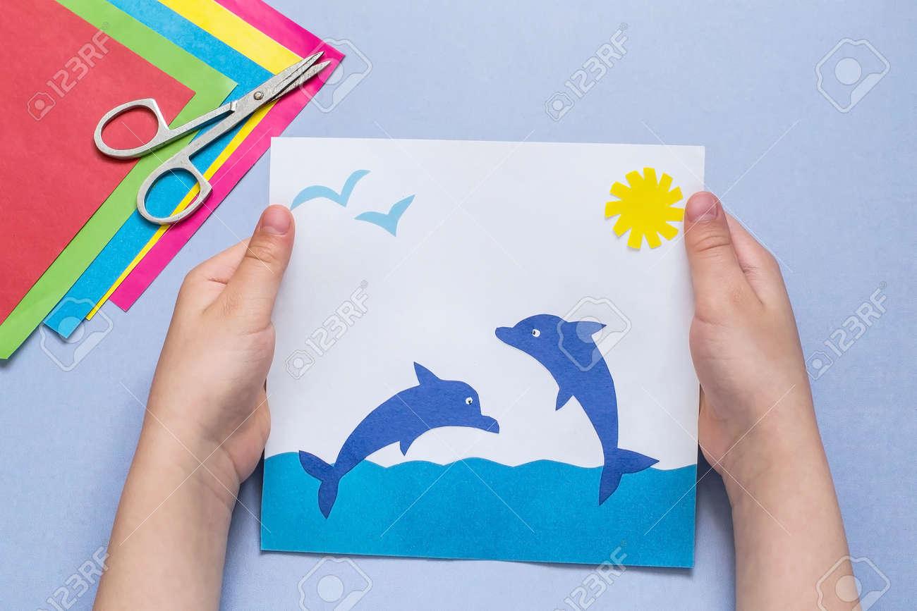 Immagini stock applique di carta è fatto dal bambino su un tema di