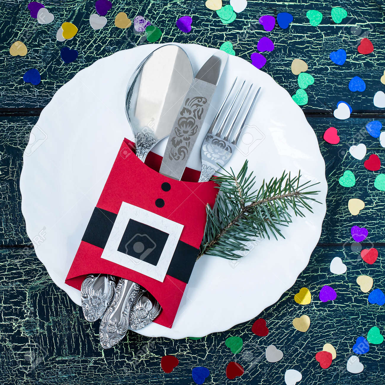 The Idea Of Christmas Decoration For The Table Setting Cutlery