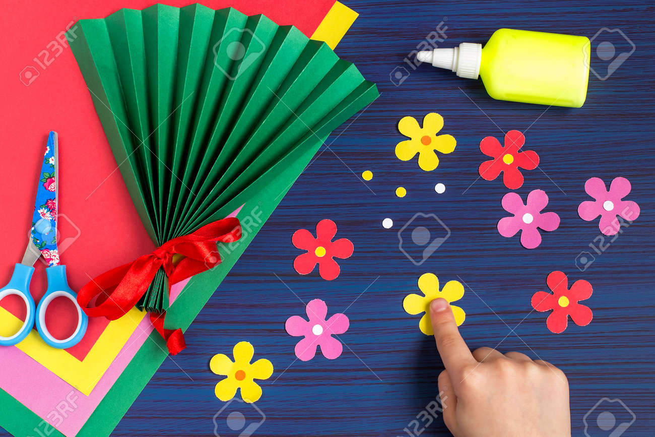 Making Gift For Mothers Day By The Child Colorful Bouquet Of