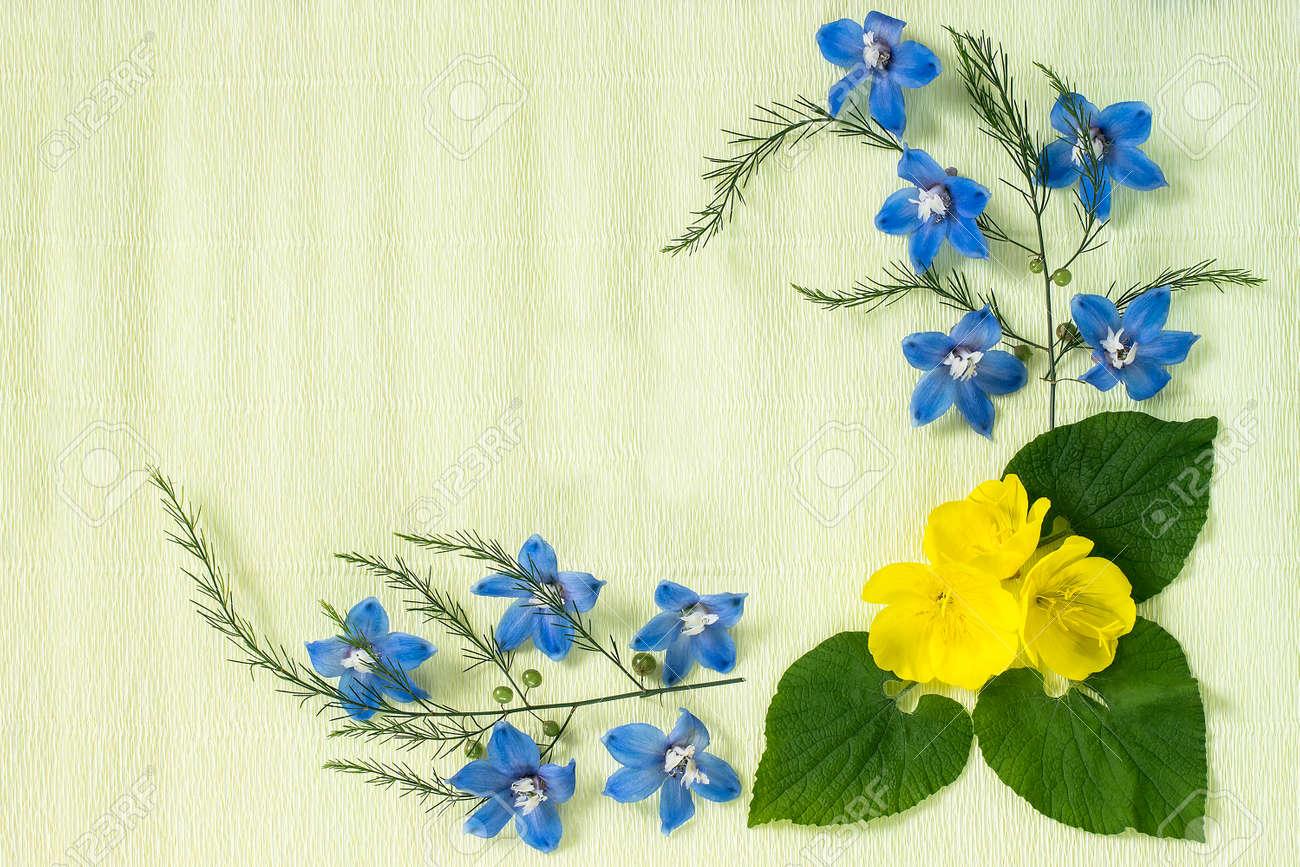 Festive Flower Arrangement Frame Made Of Delphinium Flowers Stock
