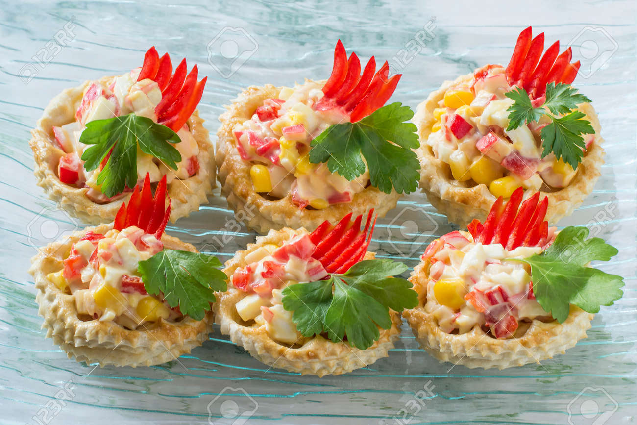 Vol Au Vent Filled With Chicken Salad Sweet Pepper Egg And Stock
