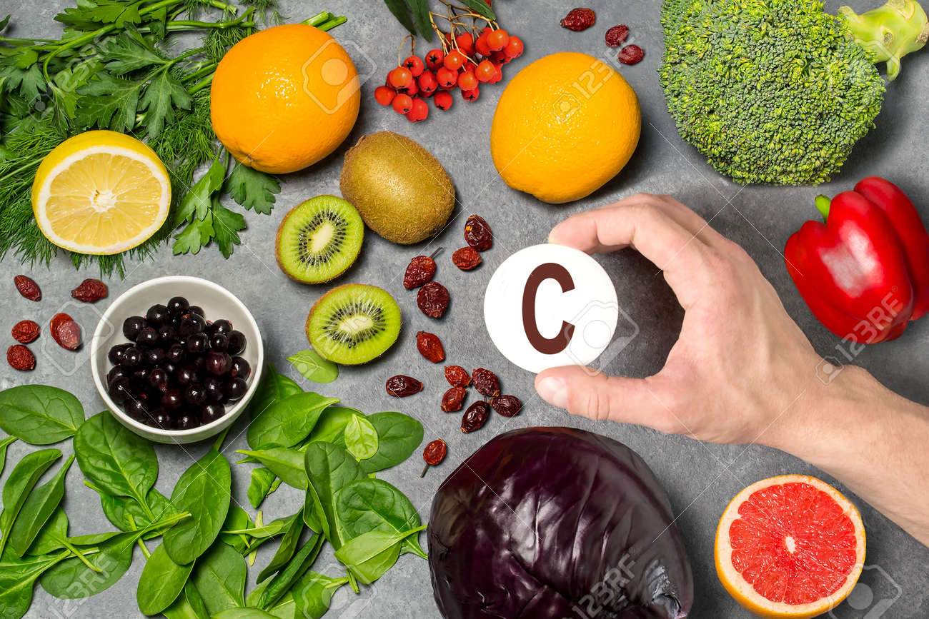 Food Rich In Vitamin C Various Natural Sources Of Vitamins Stock Photo Picture And Royalty Free Image Image 94348186