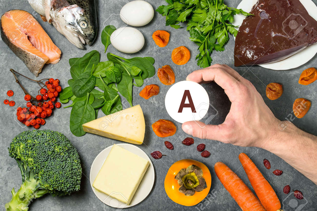 Ffood Rich In Vitamin A Various Natural Sources Of Vitamins Stock Photo Picture And Royalty Free Image Image 94290319