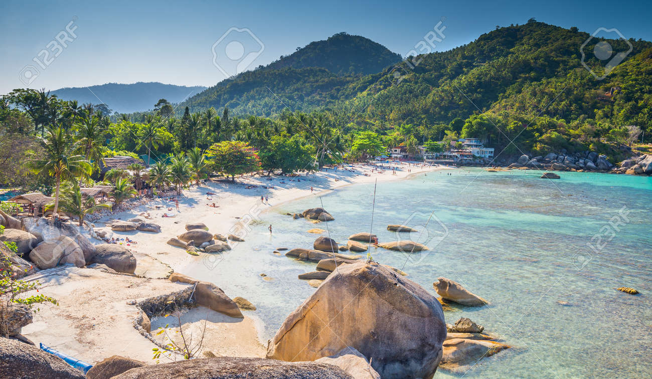Silver Beach Crystal Beach Beach View At Koh Samui Island Thailand Stock Photo