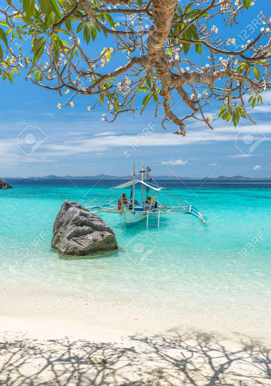 View Of Traditional Boat At Coron Island Beach Philippines