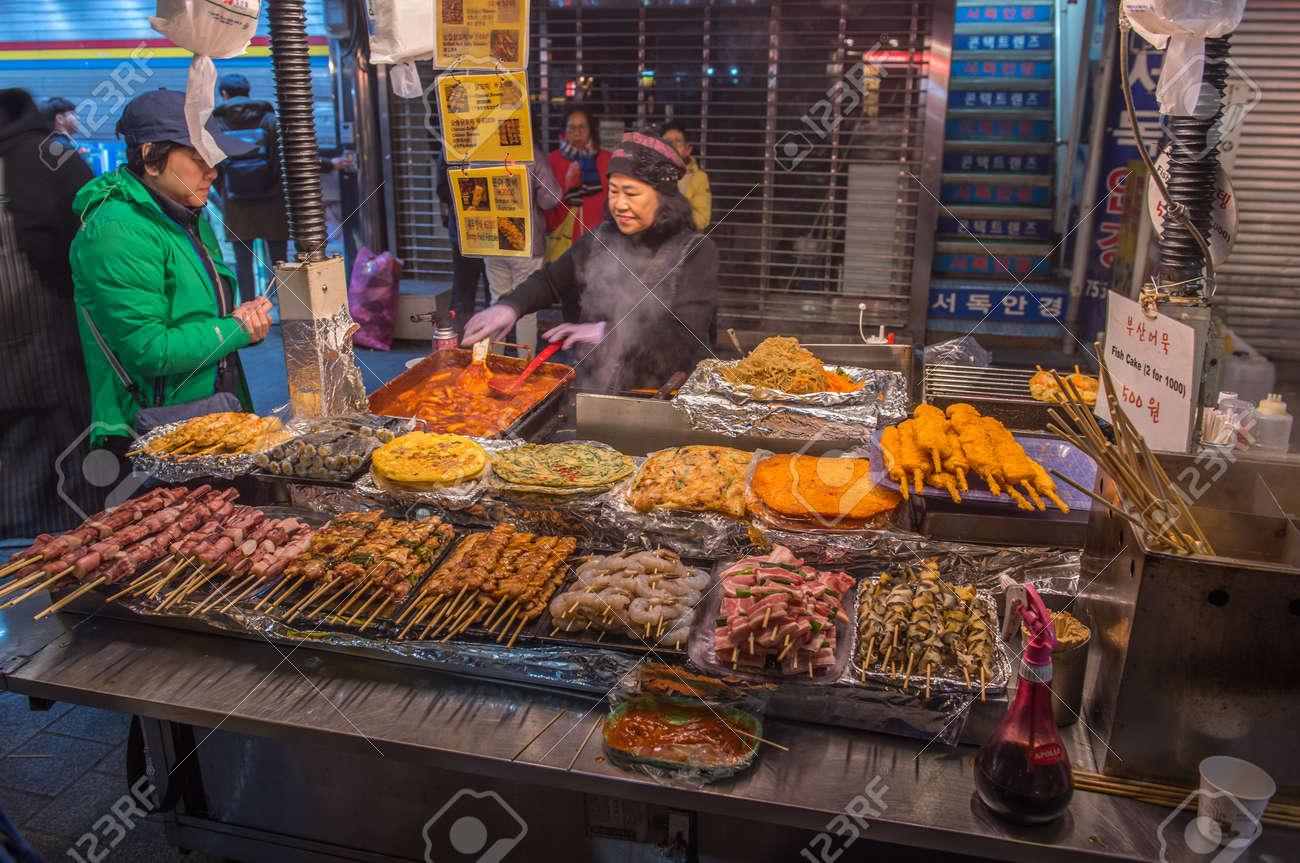 SEOUL SOUTH KOREA - APRIL 7, 2018: Street barbeque grill at Namdaemun