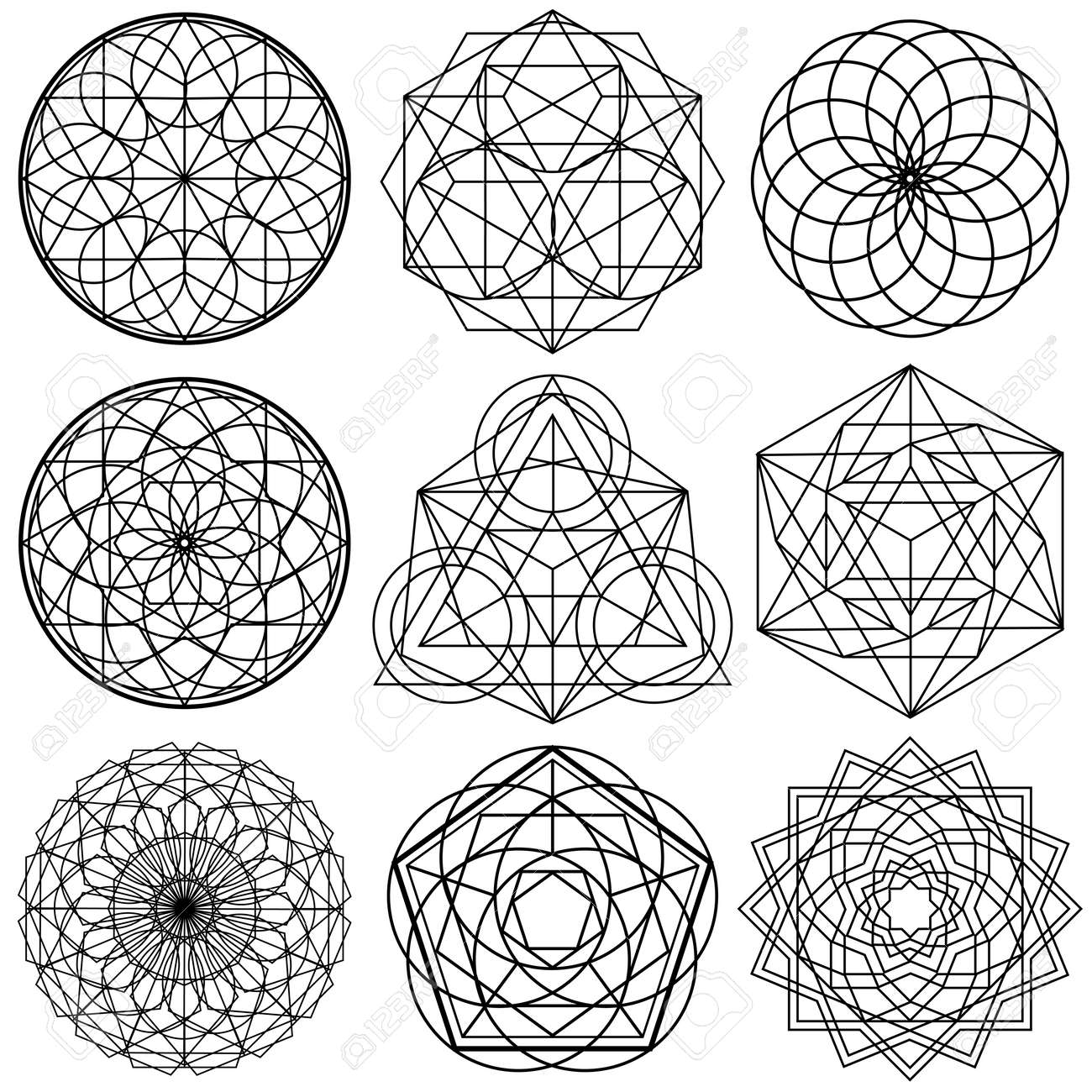 sacred geometry symbols vector set 02 royalty free cliparts