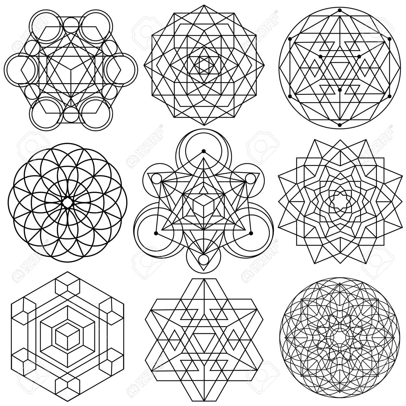 sacred geometry symbols vector set 04 royalty free cliparts
