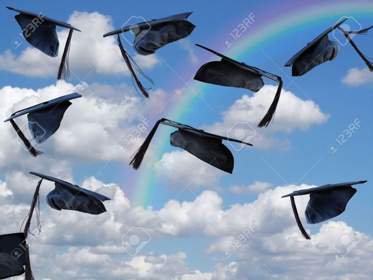grad hats with rainbow Stock Photo - 3104428