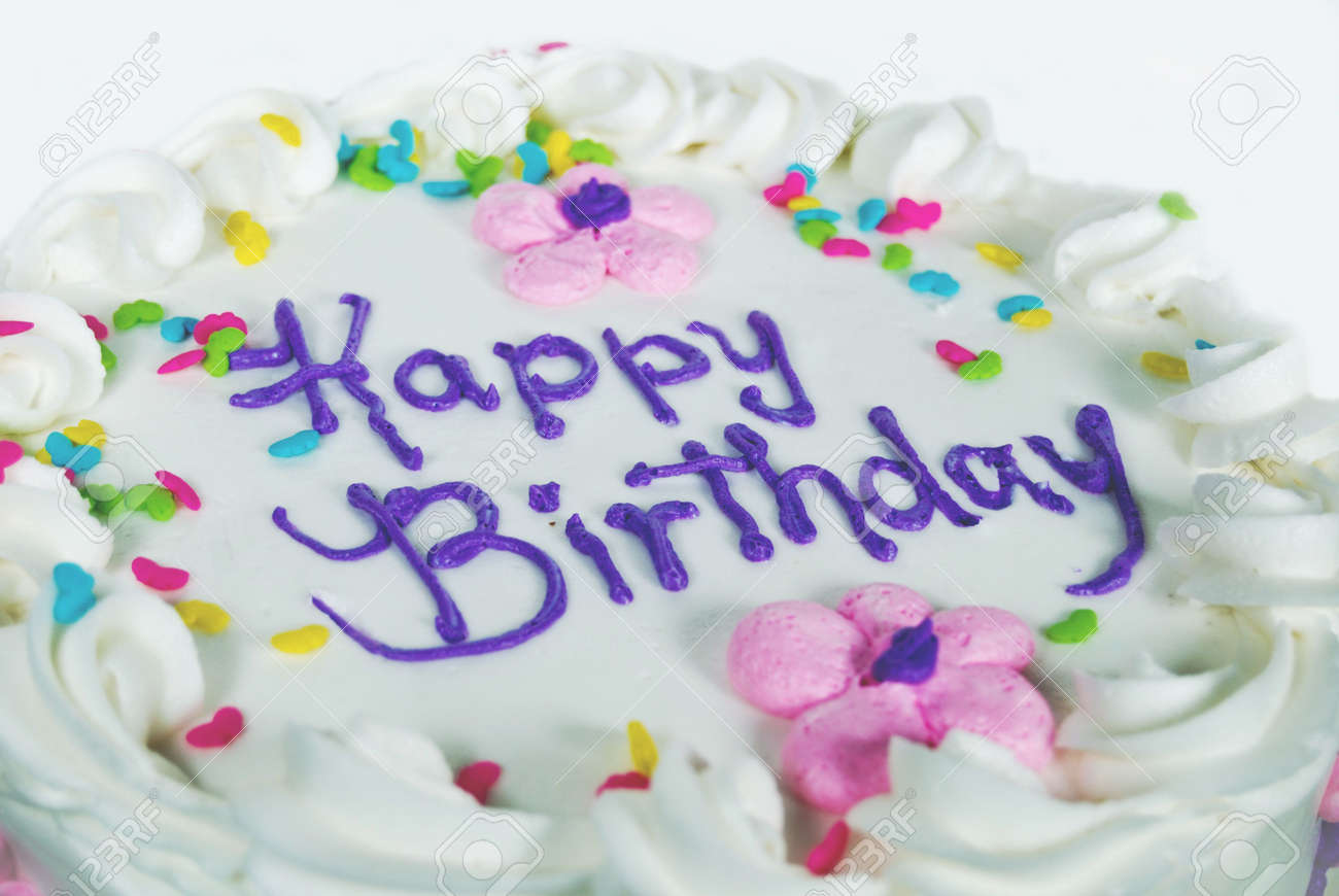 Fancy Birthday Cake With Candy Sprinkles Stock Photo Picture And