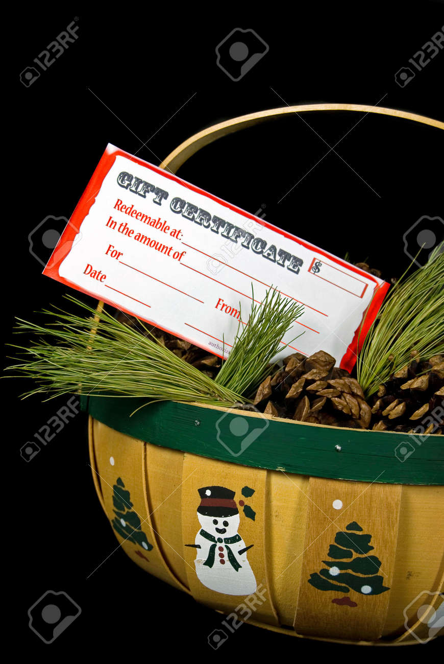 Christmas Gift Certificate In Pine Cone Basket Stock Photo Picture And Royalty Free Image Image 8188929