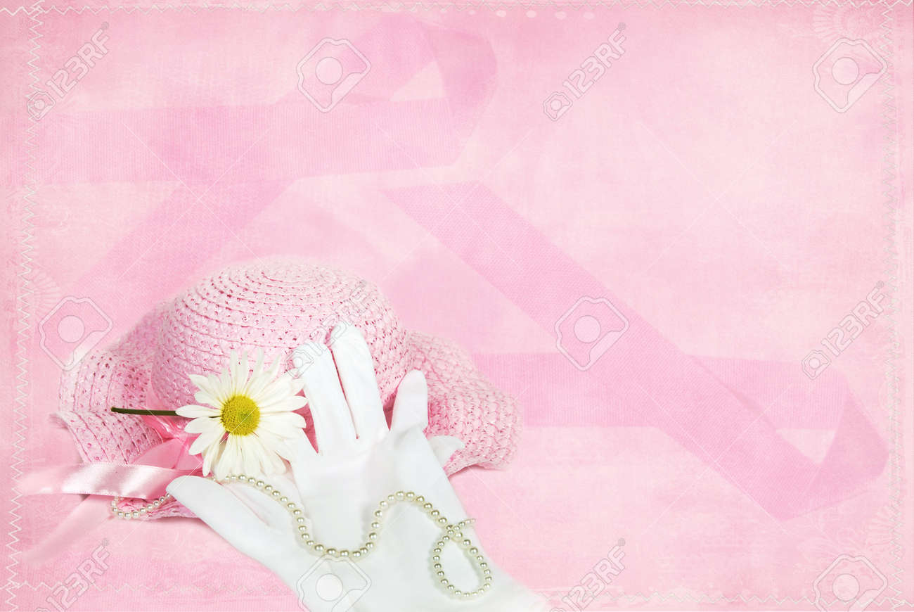 Pink hat with gloves on daisy on pink ribbon daisy. Stock Photo - 9015406